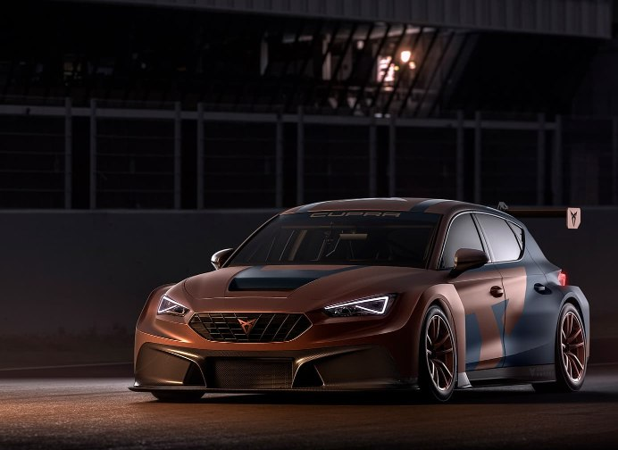 new CUPRA Leon competicion racing car shaped with 3d printing technology front side view