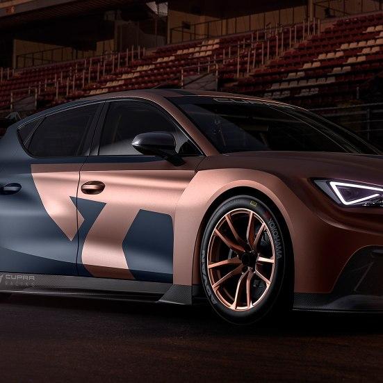 new CUPRA Leon competicion racing car with electric steering technology side view