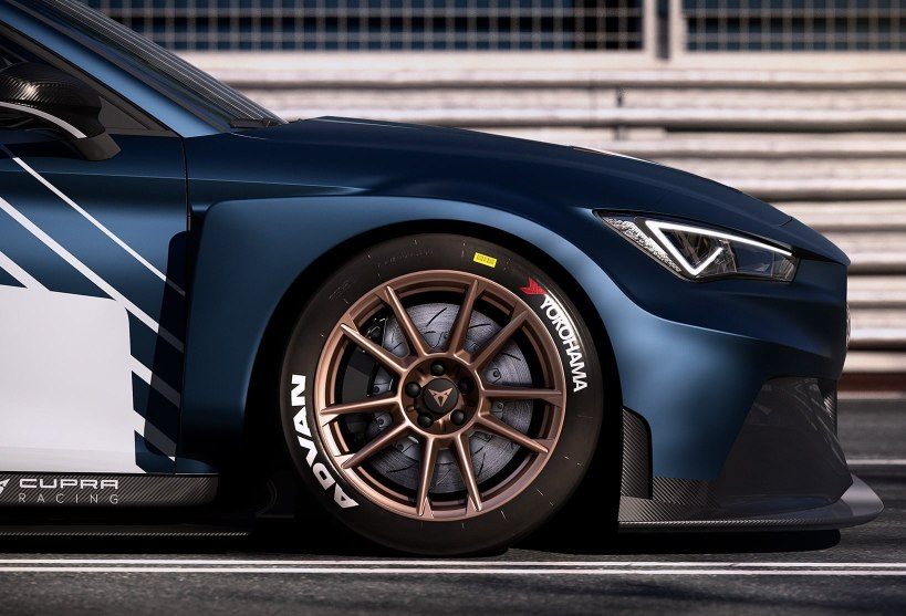 new CUPRA Leon e racer electric sports car close up of front wheel